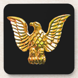 Gold, Golden Eagle on Black Background Drink Coaster