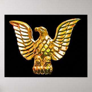 Gold, Golden Eagle on Black Background Poster