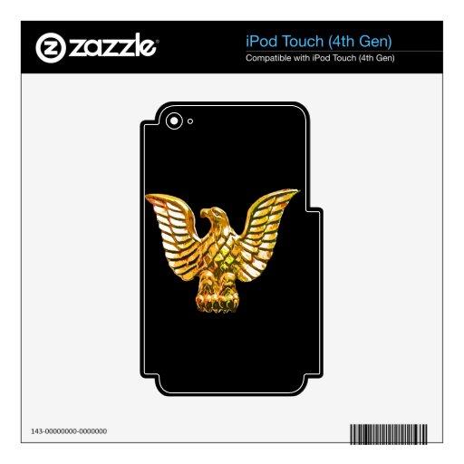 Gold, Golden Eagle on Black Background iPod Touch 4G Skins