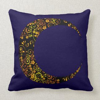 Gold Golden Floral Crescent Moon Pillow
