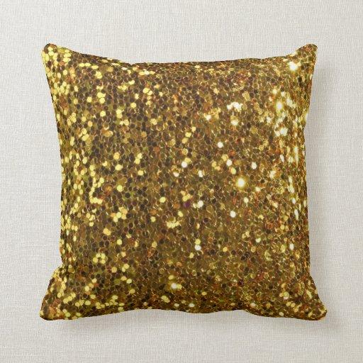 Gold Sparkle Throw Pillow : Gold golden glitter dust sequins throw pillows Zazzle