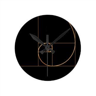 Gold Golden Spiral Round Clock