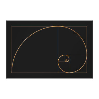 Gold Golden Spiral Stretched Canvas Print