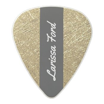 Gold / Golden Texture Chic & Personalized Acetal Guitar Pick by mixedworld at Zazzle