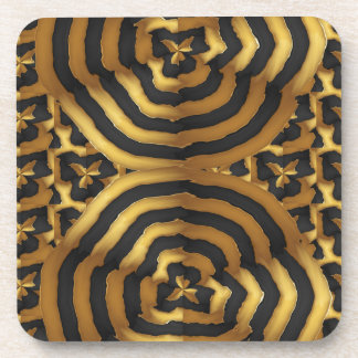 Gold Golden wave abstract art on shirts n POD gift Coaster