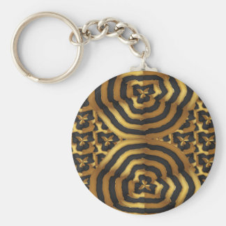 Gold Golden wave abstract art on shirts n POD gift Basic Round Button Keychain
