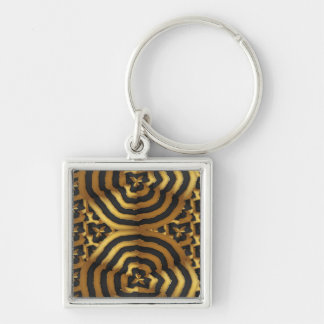 Gold Golden wave abstract art on shirts n POD gift Silver-Colored Square Keychain