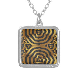 Gold Golden wave abstract art on shirts n POD gift Silver Plated Necklace