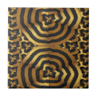 Gold Golden wave abstract art on shirts n POD gift Tile