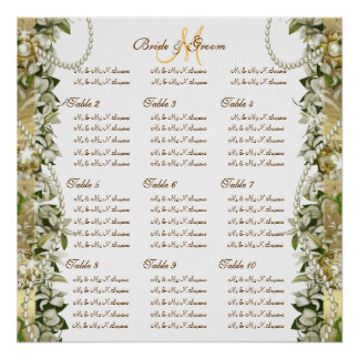 Gold golden wedding seating charts print