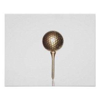 Gold golf ball and tee poster