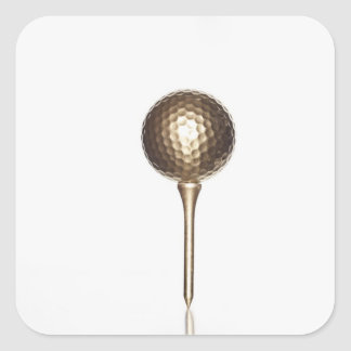 Gold golf ball and tee square sticker