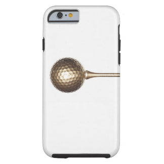 Gold golf ball and tee tough iPhone 6 case