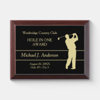 Gold Golfer Hole in One Award Plaque