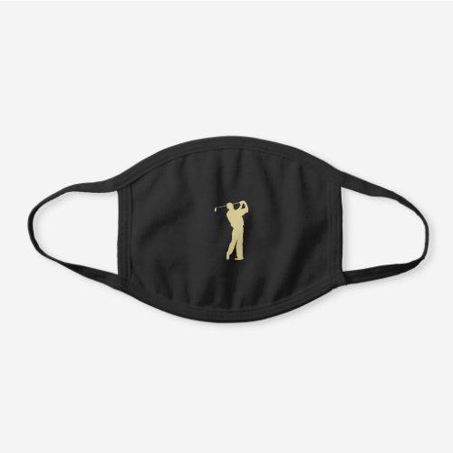 Gold Golfer Silhouette Black Cotton Face Mask