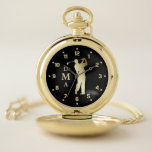 """Gold Golfer Triple Monogram Pocket Watch<br><div class=""""desc"""">Here&#39;s an elegant monogram pocket watch that makes a wonderful gift for him for many occasions. It features a shiny gold silhouette golfer in full swing at the center, with his triple monogram in matching gold running vertically at the left side. The numbers are also in gold, and everything is...</div>"""
