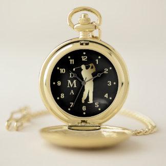 Gold Golfer Triple Monogram Pocket Watch
