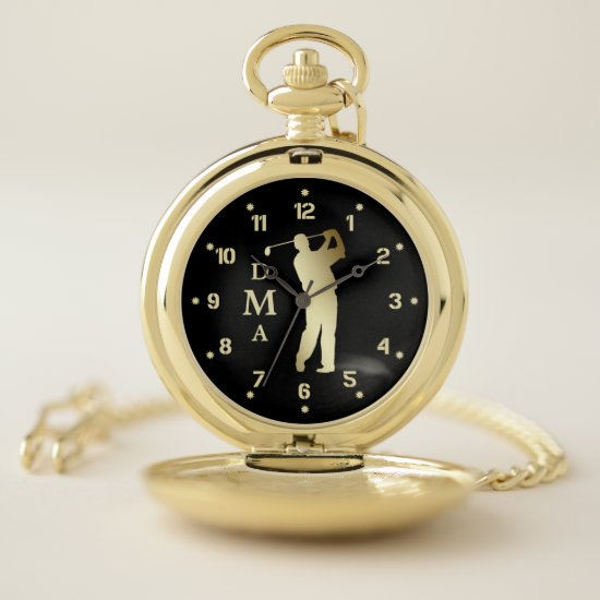 Gold Golfer Triple Monogram Pocket Watch