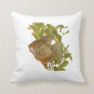 Gold Gourami Freshwater Fish With Green Throw Pillows