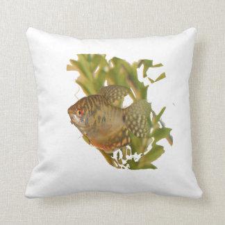 Gold Gourami Freshwater Fish With Green Throw Pillow