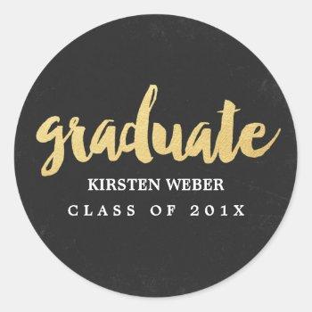 Gold Grad | Graduation Sticker Labels by Orabella at Zazzle