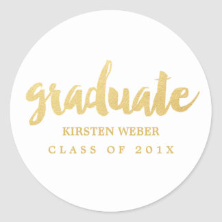 Gold Grad | Graduation Sticker Labels | White