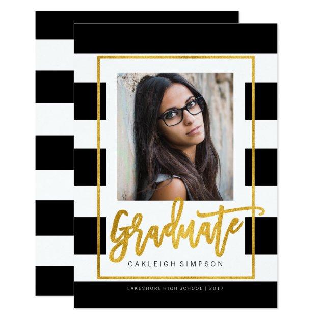 Gold Graduate | Chic Stripe Grad Announcement