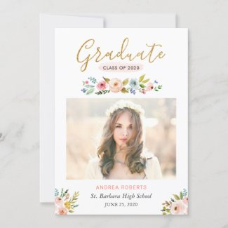 Gold Graduate Floral Photo Graduation Announcement