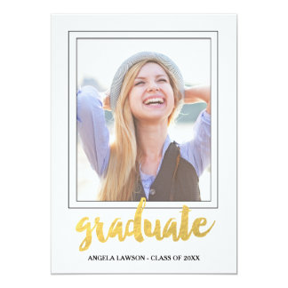 Gold Graduate Photo Frame Graduation Party Invite