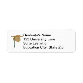 Gold Graduation Cap, Green Tassel Address Labels
