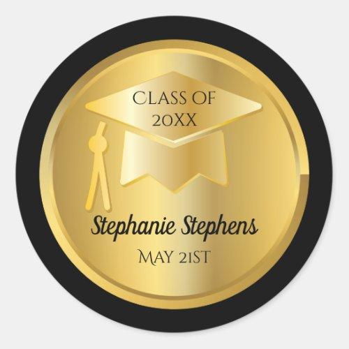 Gold Graduation Cap on Gold Gradient  Black Seal