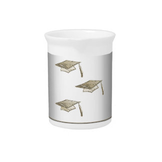 Gold Graduation Caps on Silver Look, Class of 2018 Beverage Pitcher