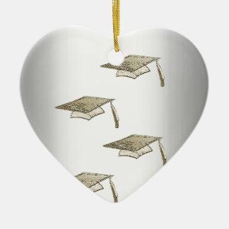 Gold Graduation Caps on Silver Look, Class of 2018 Ceramic Ornament