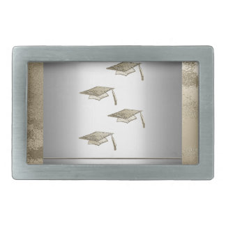 Gold Graduation Caps on Silver Look, Class of 2018 Rectangular Belt Buckle