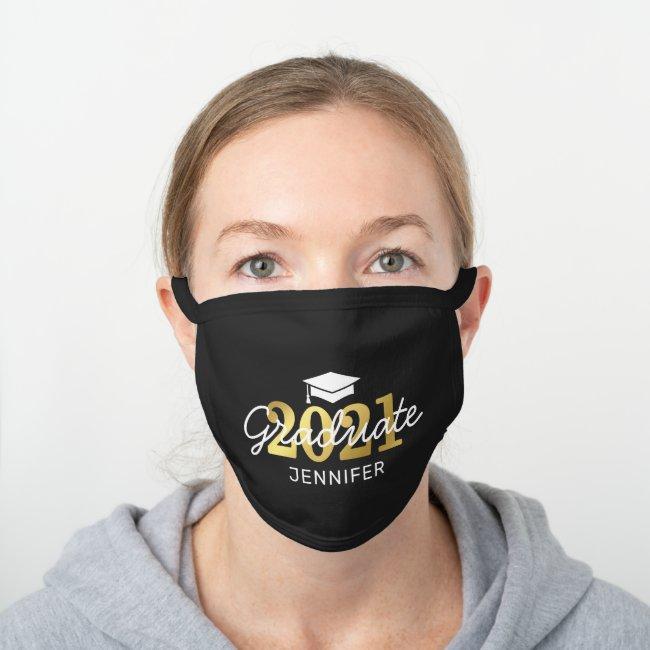 Gold Graduation Class of 2021 Black Cotton Face Mask