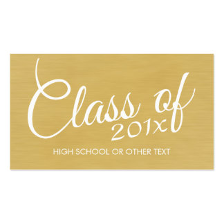 Gold Graduation Class of with Custom Year School Double-Sided Standard Business Cards (Pack Of 100)