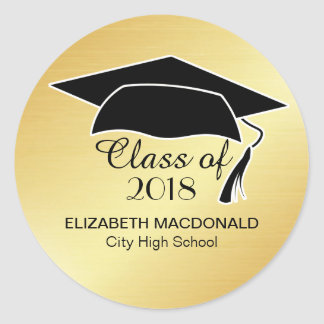 Gold Graduation Sticker Black Mortar Board & Text