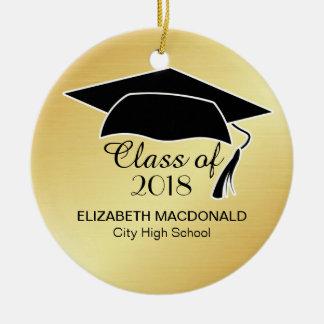 Gold Graduation Sticker Black Mortar Board & Text Ceramic Ornament