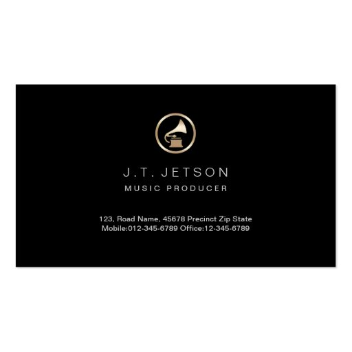 Gold Gramophone Icon Music Producer Business Card