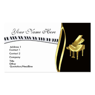 Gold Grand Piano Business Card