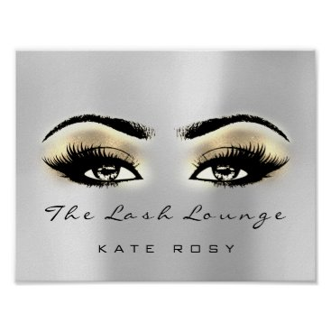 Art Themed Gold Gray Brown Makeup Artist Beauty Studio Lashes Poster