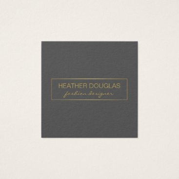 Gold Gray Foil Shine Square Business Card