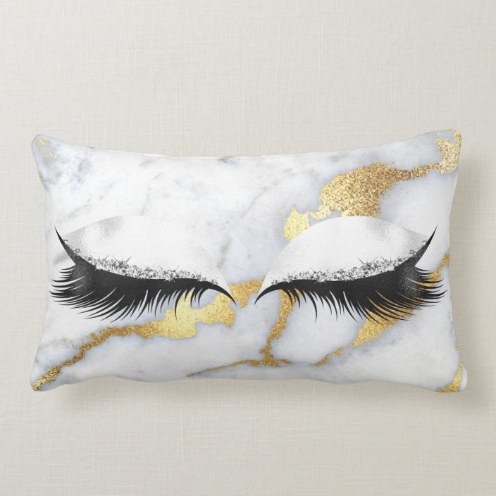 Gold Gray Glitter Black Eyes Makeup Marble Stone Lumbar Pillow Zazzle Com