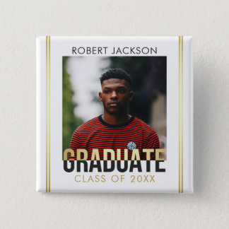 Gold & Gray Graduate Typography | Photo Graduation Pinback Button