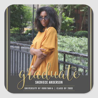 Gold & Gray Graduation | Custom Photo Square Sticker