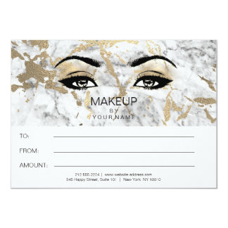 Gold Gray Marble  Makeup Beauty Certificate Gift Card