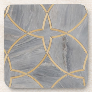Gold Gray Pattern Marble Chic Coaster
