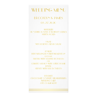 Gold Great Gatsby Wedding Menu Cards Personalized Rack Card