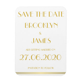 Gold Great Gatsby Wedding Save The Date Magnets