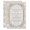 Gold Great Gatsby White 1920s New Year Party Invitation